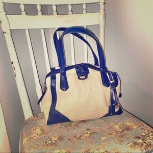 London Fog Cream and Navy Handbag